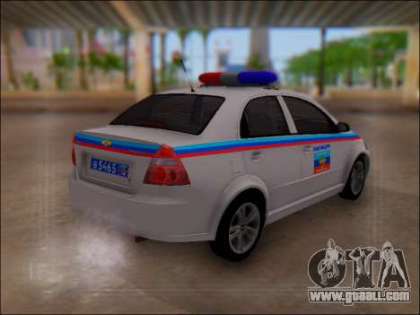 Chevrolet Aveo Police LNR for GTA San Andreas right view