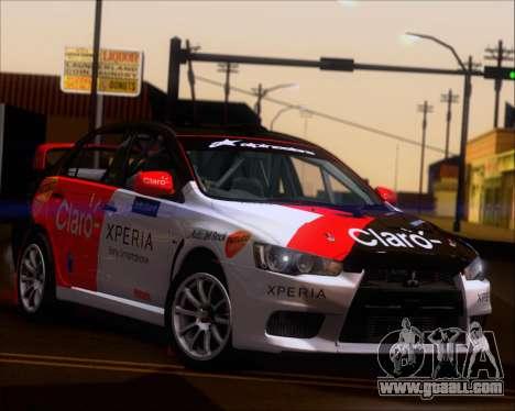 Mitsubushi Lancer Evolution Rally Team Claro for GTA San Andreas inner view
