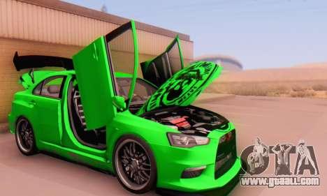 Mitsubishi Lancer Evolution X Metalhead for GTA San Andreas back view