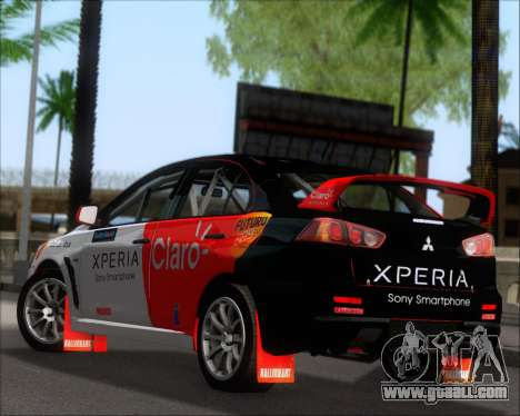 Mitsubushi Lancer Evolution Rally Team Claro for GTA San Andreas back left view