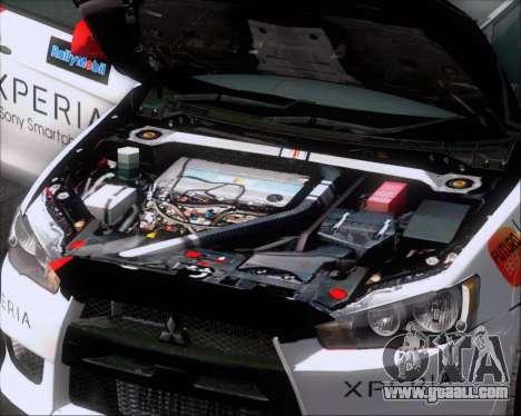 Mitsubushi Lancer Evolution Rally Team Claro for GTA San Andreas bottom view