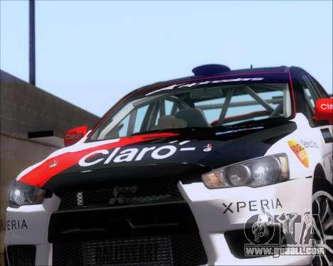 Mitsubushi Lancer Evolution Rally Team Claro for GTA San Andreas back view