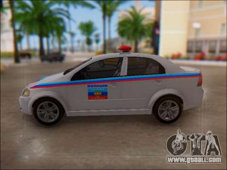 Chevrolet Aveo Police LNR for GTA San Andreas upper view