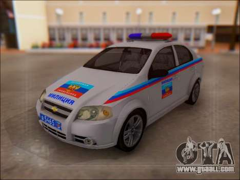 Chevrolet Aveo Police LNR for GTA San Andreas back left view
