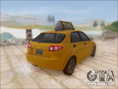 Chevrolet Lacetti Taxi for GTA San Andreas back view