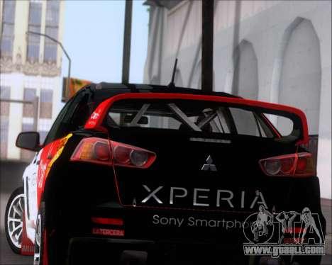 Mitsubushi Lancer Evolution Rally Team Claro for GTA San Andreas wheels