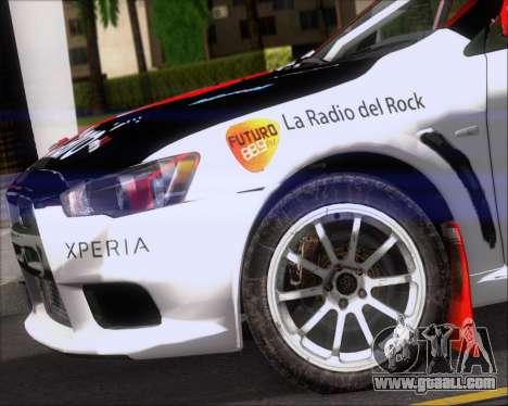 Mitsubushi Lancer Evolution Rally Team Claro for GTA San Andreas side view