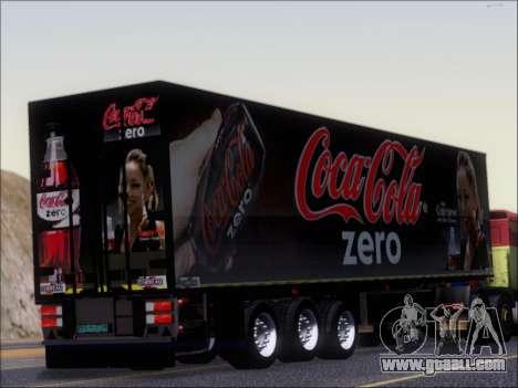 Trailer Chereau Coca-Cola Zero Truck for GTA San Andreas right view