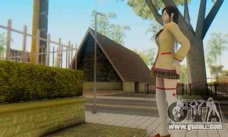 Kokoro wearing a school uniform (DOA5) for GTA San Andreas fifth screenshot