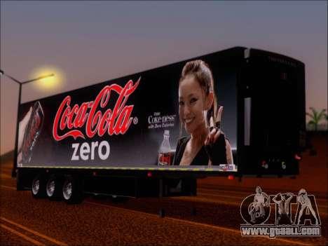 Trailer Chereau Coca-Cola Zero Truck for GTA San Andreas left view