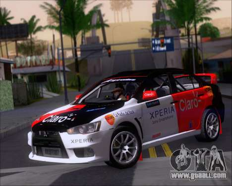 Mitsubushi Lancer Evolution Rally Team Claro for GTA San Andreas left view