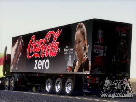 Trailer Chereau Coca-Cola Zero Truck for GTA San Andreas back left view