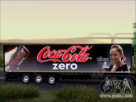 Trailer Chereau Coca-Cola Zero Truck for GTA San Andreas back view