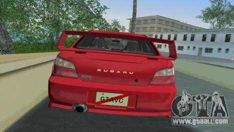 Subaru Impreza WRX 2002 Type 6 for GTA Vice City back view