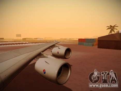 Airbus A380-800 Korean Air for GTA San Andreas bottom view