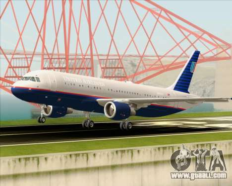 Airbus A320-232 United Airlines (Old Livery) for GTA San Andreas upper view