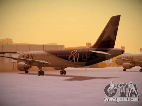 Airbus A320-214 LAN Airlines 80 Years for GTA San Andreas right view