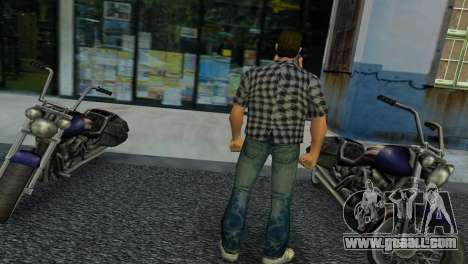 Kockas polo - szurke T-Shirt for GTA Vice City second screenshot