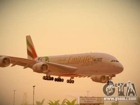 Airbus A380-800 Emirates Rugby World Cup for GTA San Andreas left view
