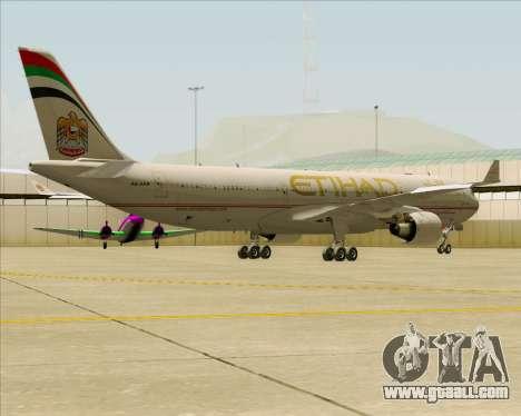 Airbus A330-300 Etihad Airways for GTA San Andreas back view