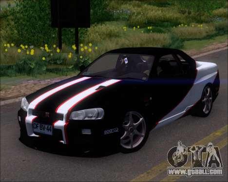 Nissan Skyline GT-R R34 V-Spec II for GTA San Andreas engine