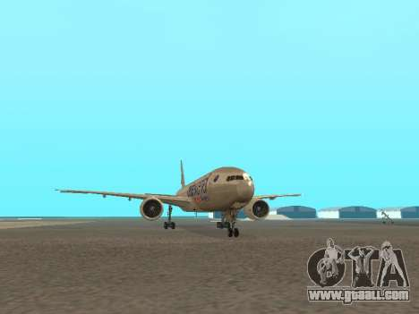 Boeing 777-223ER American Silver Bullet for GTA San Andreas back view