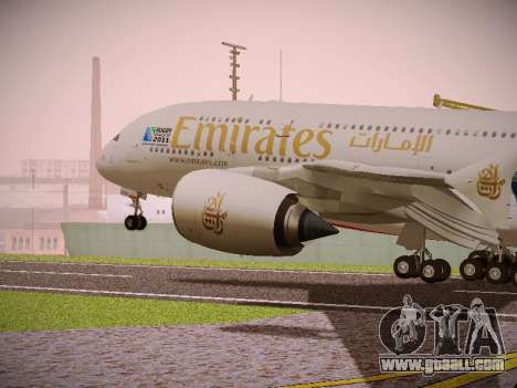 Airbus A380-800 Emirates Rugby World Cup for GTA San Andreas back view