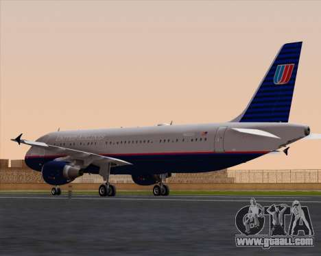 Airbus A320-232 United Airlines (Old Livery) for GTA San Andreas back left view