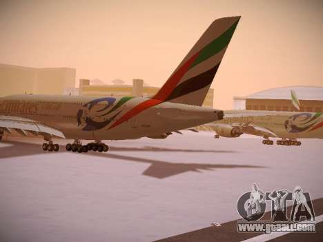 Airbus A380-800 Emirates Rugby World Cup for GTA San Andreas back left view