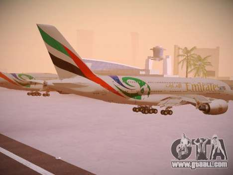 Airbus A380-800 Emirates Rugby World Cup for GTA San Andreas right view