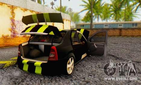 Dacia Logan Black Style for GTA San Andreas back view