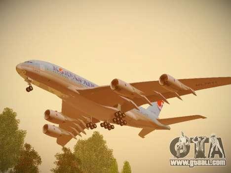 Airbus A380-800 Korean Air for GTA San Andreas inner view