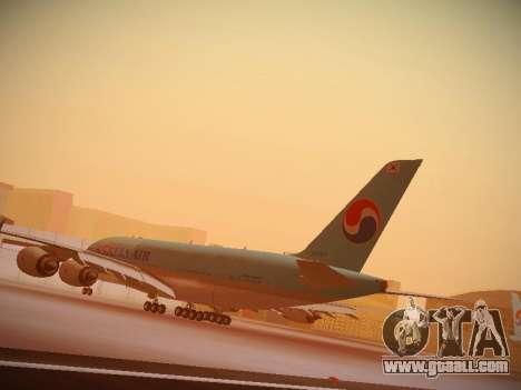 Airbus A380-800 Korean Air for GTA San Andreas side view