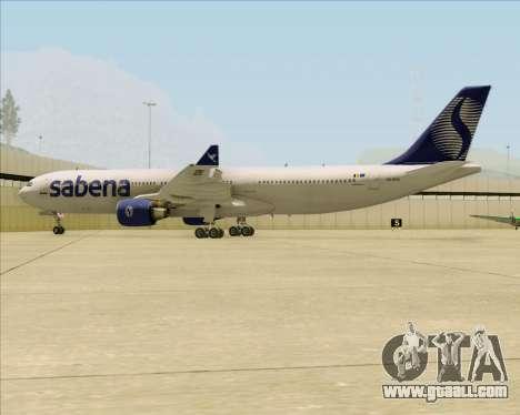 Airbus A330-300 Sabena for GTA San Andreas bottom view