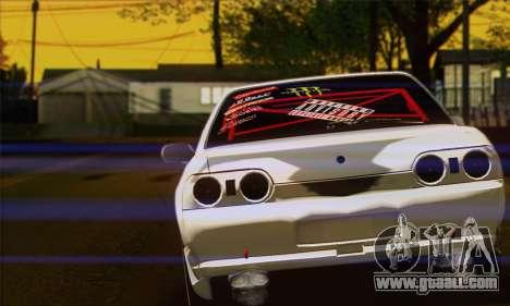 Nissan Skyline R32 Drift Monster Energy for GTA San Andreas back left view
