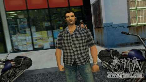 Kockas polo - szurke T-Shirt for GTA Vice City third screenshot