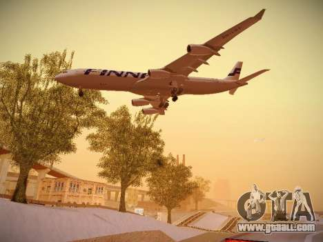Airbus A340-300 Finnair for GTA San Andreas side view