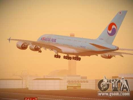 Airbus A380-800 Korean Air for GTA San Andreas back left view