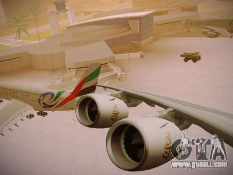Airbus A380-800 Emirates Rugby World Cup for GTA San Andreas upper view