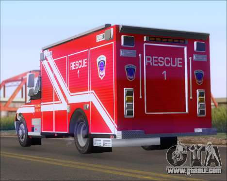 Pierce Commercial TFD Rescue 1 for GTA San Andreas back left view