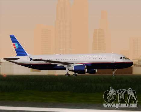 Airbus A320-232 United Airlines (Old Livery) for GTA San Andreas back view