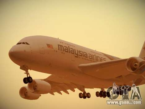 Airbus A380-800 Malaysia Airlines for GTA San Andreas left view