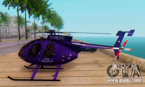 The MD500E helicopter v1 for GTA San Andreas left view