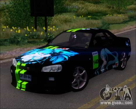 Nissan Skyline GT-R R34 V-Spec II for GTA San Andreas wheels