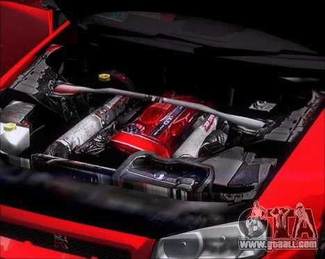 Nissan Skyline GT-R R34 V-Spec II for GTA San Andreas inner view