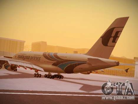 Airbus A380-800 Malaysia Airlines for GTA San Andreas bottom view