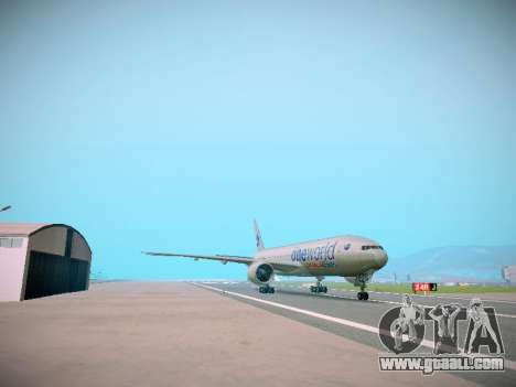 Boeing 777-223ER American Silver Bullet for GTA San Andreas back left view