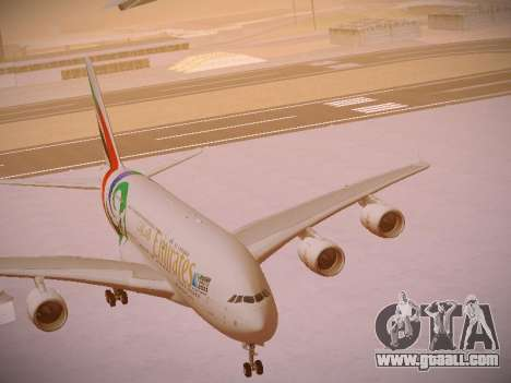 Airbus A380-800 Emirates Rugby World Cup for GTA San Andreas bottom view
