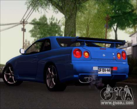 Nissan Skyline GT-R R34 V-Spec II for GTA San Andreas back left view