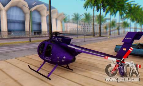 The MD500E helicopter v1 for GTA San Andreas back left view